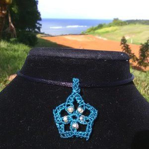 Teal Starfish Macrame Necklace